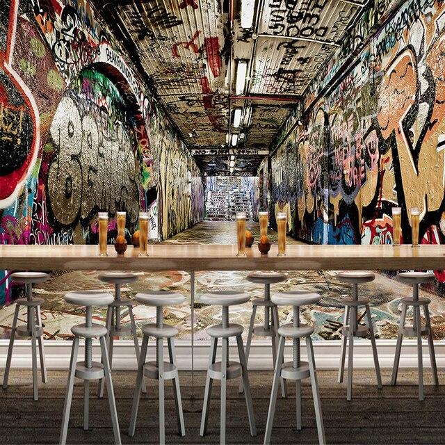 Custom Mural Wallpaper 3D Space Street Graffiti Hip Hop Bar KTV Backdrop Wall Painting Art
