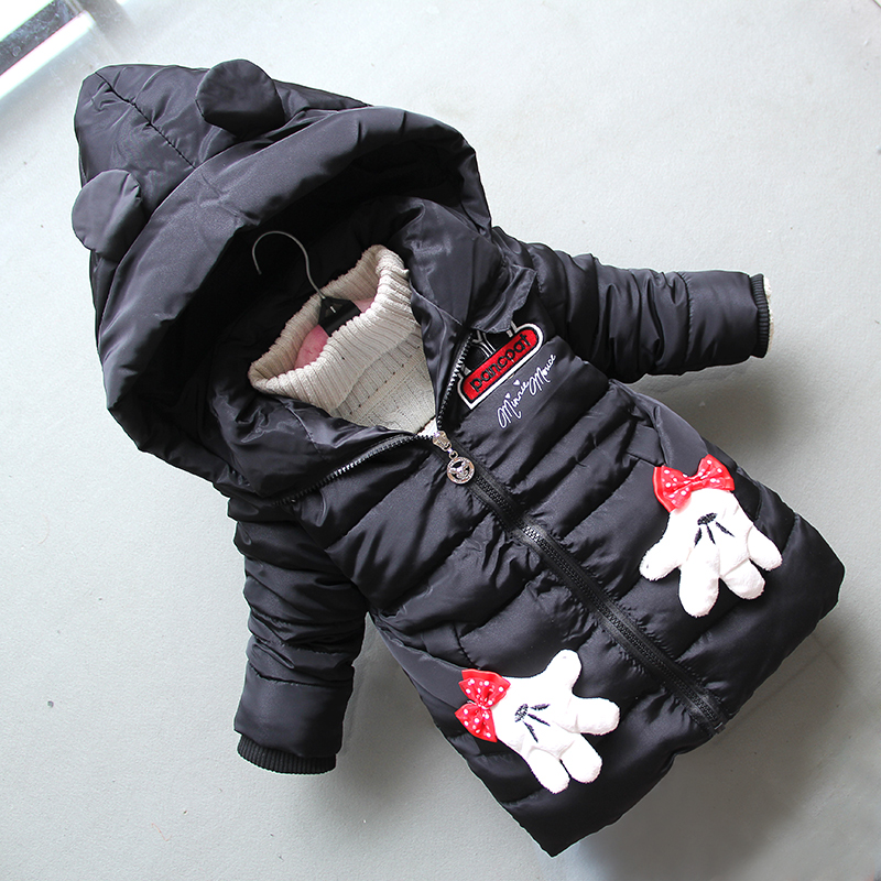 BibiCola new children girls coats winter cartoon long hoodie coat children kids thikcen warm jackets coats girls winter clothing цена