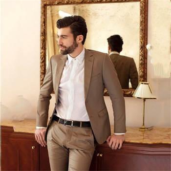 Custom Mens Suits Fashion Wedding Brown Groom Prom Suits For Men Masculino Trajes De Hombre Suit For Male 2 Pieces(Jacket+Pant)