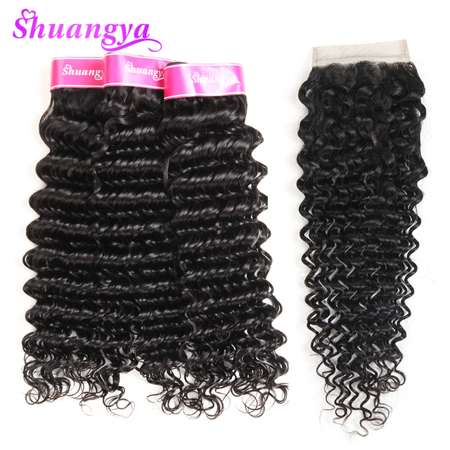 Shuangya Hair Weaves Brazilian Deep Wave Hair With Lace Closure 4 Pcs Free Part Non Remy Human Hair 3 Bundles With Closure