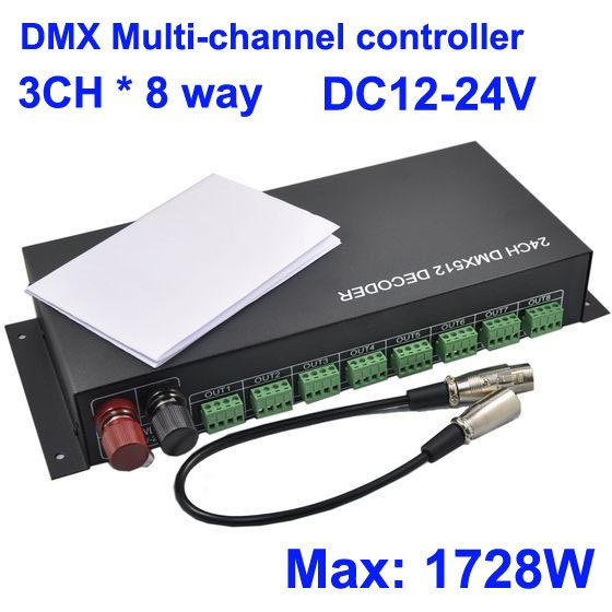 DHL (EMS) Multi-channel 3CH *8 Way (24 Channel), DC12-24V LED RGB DMX 512 Decoder Controller for Led RGB bulb strip light,Retail dhl ems 4 sets new for sch neider ic65h dc 2p c4a breaker