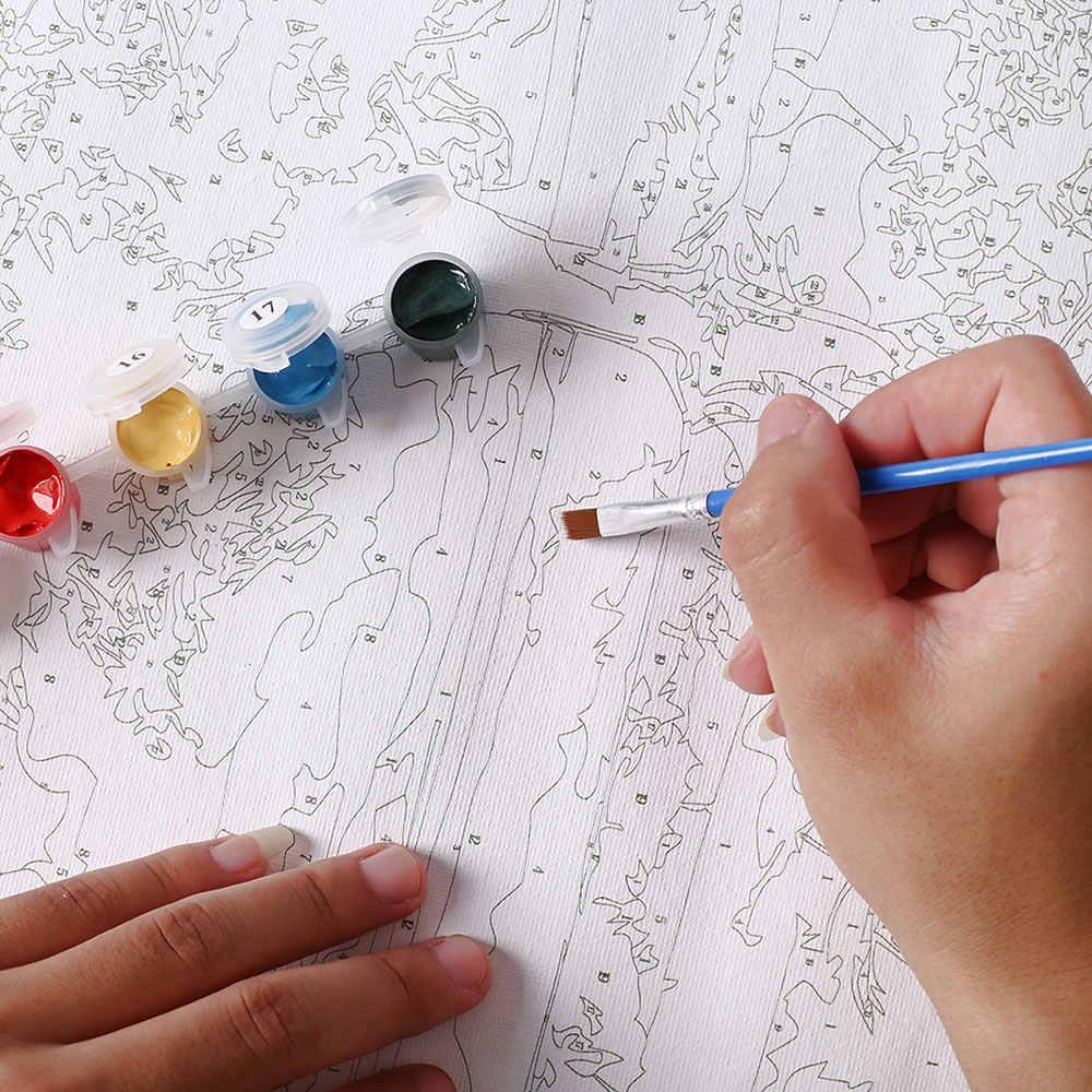 فرملس خمر اللوحة الفيل القط البطيخ DIY اللوحة من قبل مجموعات الأرقام زيت على قماش المنزل جدار الصورة الأعمال الفنية ديكور