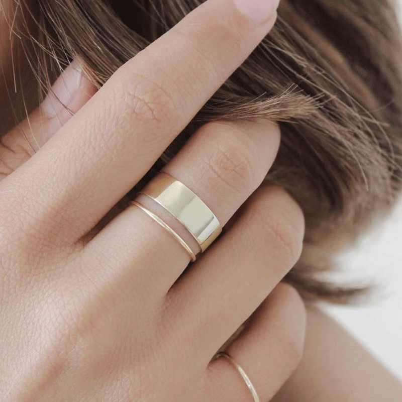 Double Thin Band One Wide Opening Band 3 Pieces Silver Golden Simple Rings set for Women