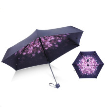 Folding umbrella UV protection Sun Three-folding Umbrella Cartoon Black Coating Simple fashion flower