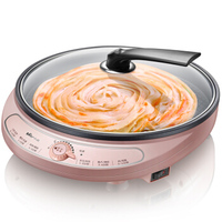 22%,27cm Crepe Makers multifunctional electric baking pan kitchen cooking tools glass lid Single baking tray 3cm high 1000W pink