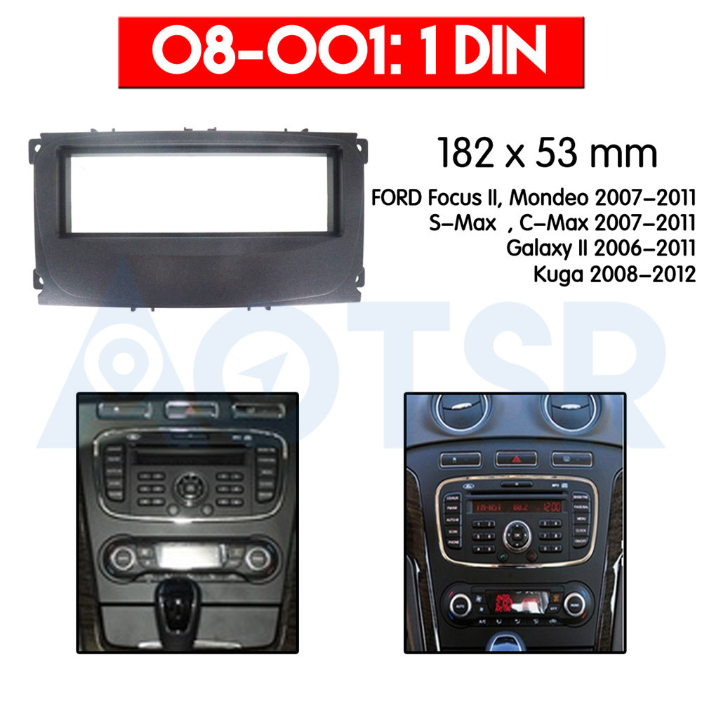 1 din Radio Fascia for FORD Focus II, Mondeo, S-Max, C-Max ; Galaxy II; Kuga Installation Dash Kit Frame Adapter CD DVD ABS trim image