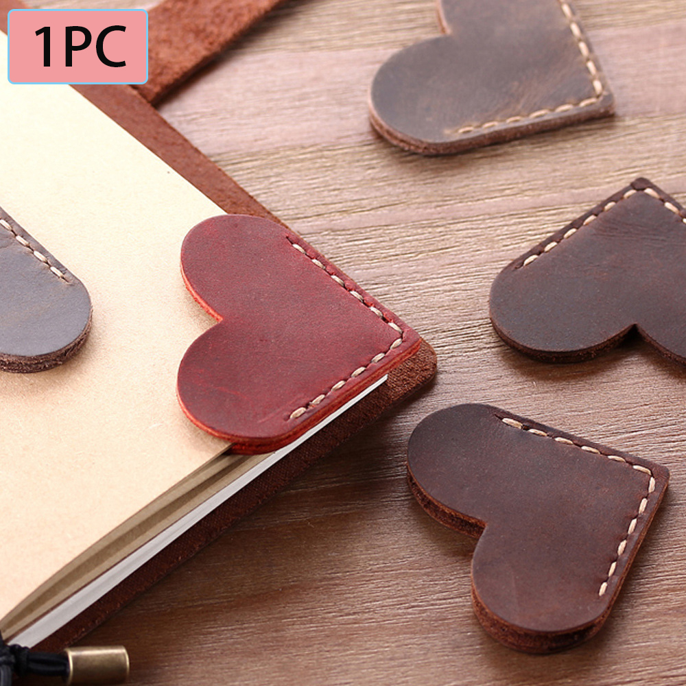 1pc Vintage Leather Bookmarks Love Heart Shape Marker Genuine Leather Bookmark for Reader Bookmarks Teacher Gift(China)