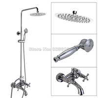 Modern Chrome Brass Finish Bathroom Rain Shower Faucet Set Dual Handle Bathtub Mixer Taps Wall Mounted Wcy356