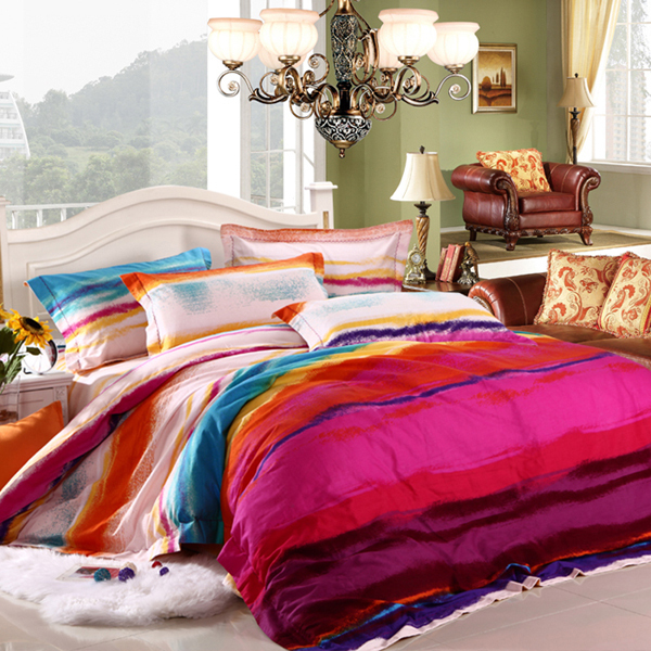 100 Cotton Colorful Sanded Bed Sheets Queen Bedding Sets 4pc Set Super Quality