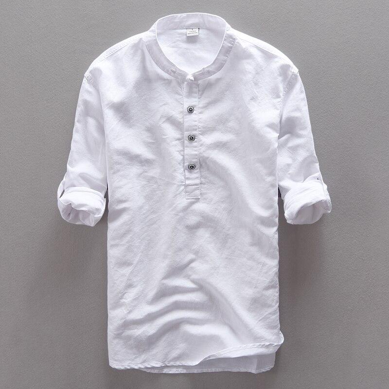2017 New Mandarin Collar 신사 단추 코튼 린넨 셔츠 남성용 긴팔 새 셔츠 스타일 남성 셔츠 Camisa masculina M-3XL