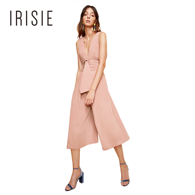 IRISIE Brand 2018 Summer New Pink/White Casual Holiday Style deep V-Neck Sleeveless Wide Leg Elegant OL Lady Jumpsuits