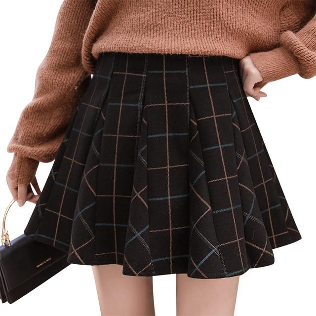 24a25e75dc9 High Waist Wool Plaid Skirt Pleated Mini Skirts Womens 2018 Autumn Winter  England School Style Skater