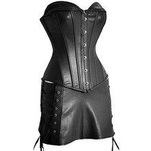 Steampunk corsé mujer Sexy corsé vestido gótico cuerpo Shaper Mini falda vestido de imitación de cuero negro Overbust de talla grande