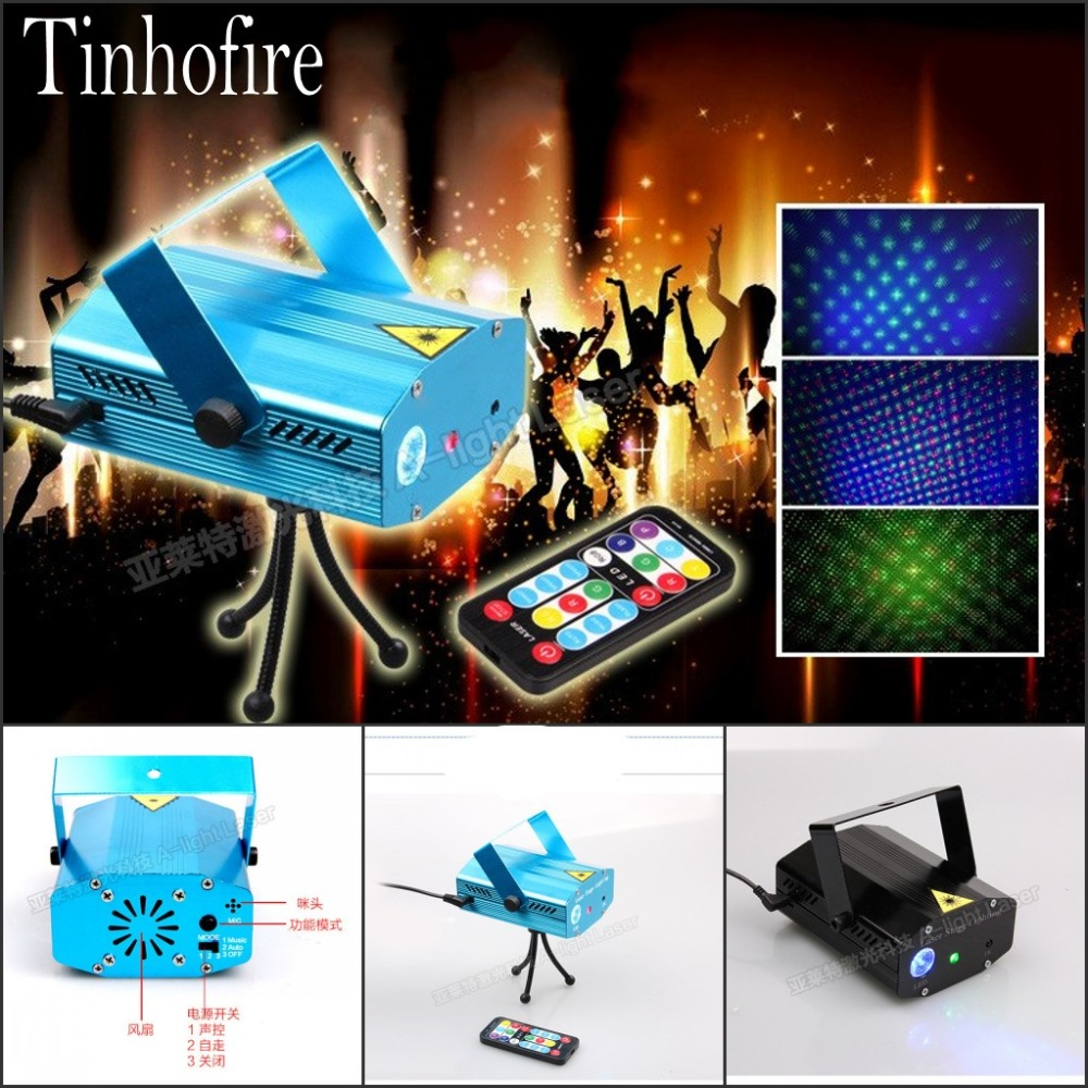 Tinhofire A-01(RGB) Remote Control MINI LED Stage Light Lamp RGB Laser Stage Lighting Sound Control Party KTV DISCO Light tinhofire remote control 48 design led stage light lamp rg laser projector stage light 12v strobe laser dj disco party ktv