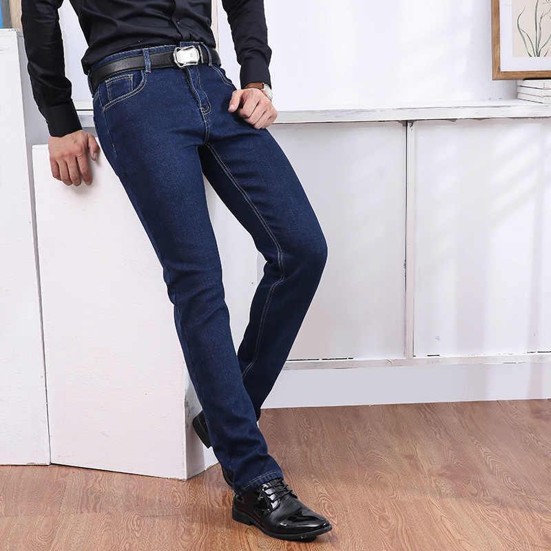 Jantour Мужские Зимние флисовые толстые теплые джинсы новая мода мужские прямые тонкие джинсовые брюки синие джинсы длинные джинсы 35 38 40 большой размер