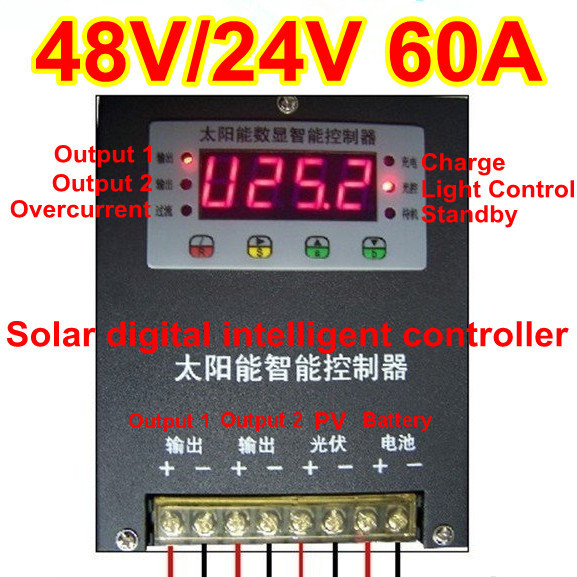 DHL free shipping--60A 48V/24V automatic digital displayed intelligent solar controller in  stock