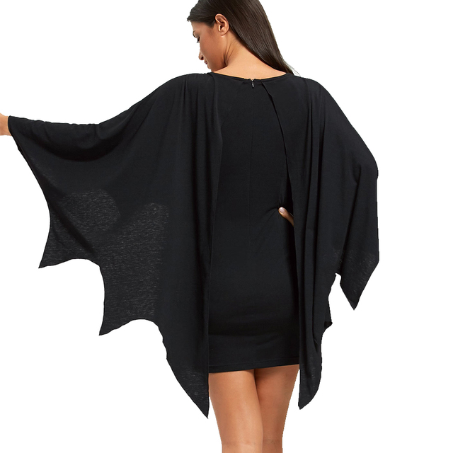 AZULINA Halloween Bodycon Dress with Bat Wings Gothic Style U Neck Long Sleeves Solid Mini Dresses Women Autumn Winter Vestidos 5