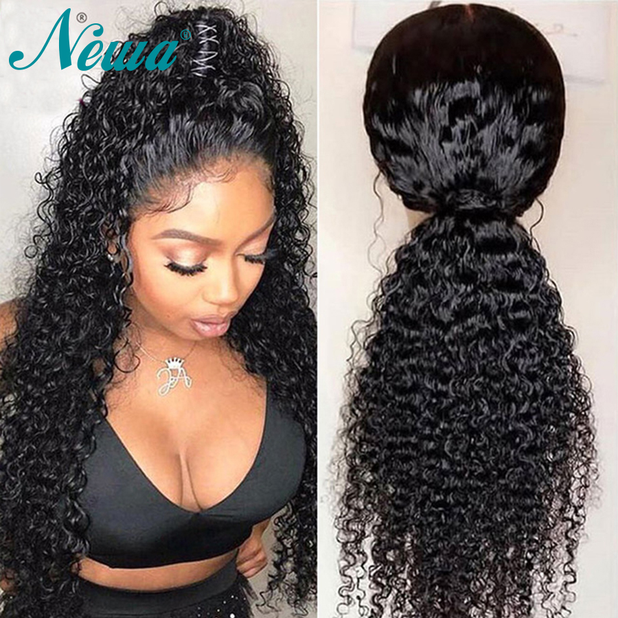 Newa Hair 370 Lace Frontal Wigs For Black Women 150 Density Fake Scalp Wig Curly Remy