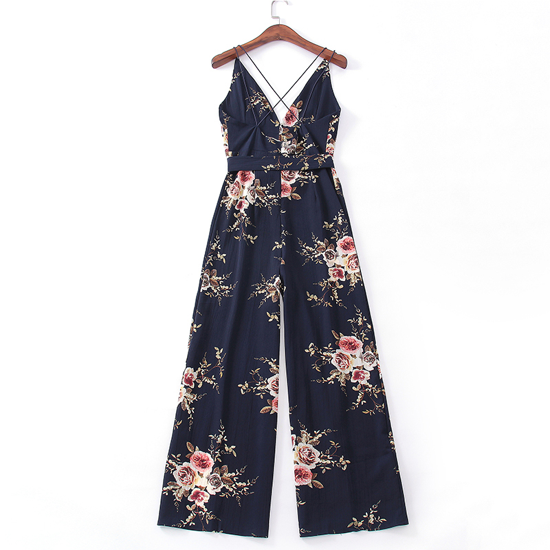 Sexy Lady Strap Floral Printed Split Jumpsuits V Neck Loose Beach Pants Elegant Women Backless Bohemian Chiffon Rompers