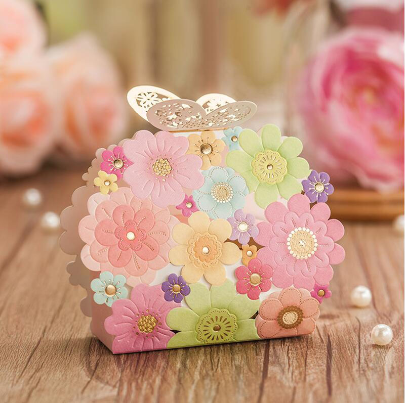 50 Pcs Beautiful Series Portable Candy Box, Paper Bag with Butterfly Buckle,Gift Packaging Boxes for Candy,Chocolate