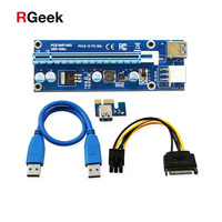 6Pcs PCIe PCI E PCI Express Riser Card 1x To 16x USB 3 0 Data Cable