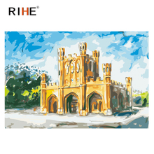 RIHE Castle Diy Painting By Numbers Sky Oil On Canvas Hand Painted Street Cuadros Decoracion Acrylic Paint Home Decor