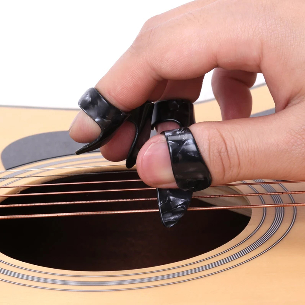 4 Pcs/set 1 Thumb + 3 Finger Guitar Picks Celluloid Fingerpicks Guitar Plectrum Sheath For Acoustic Electric