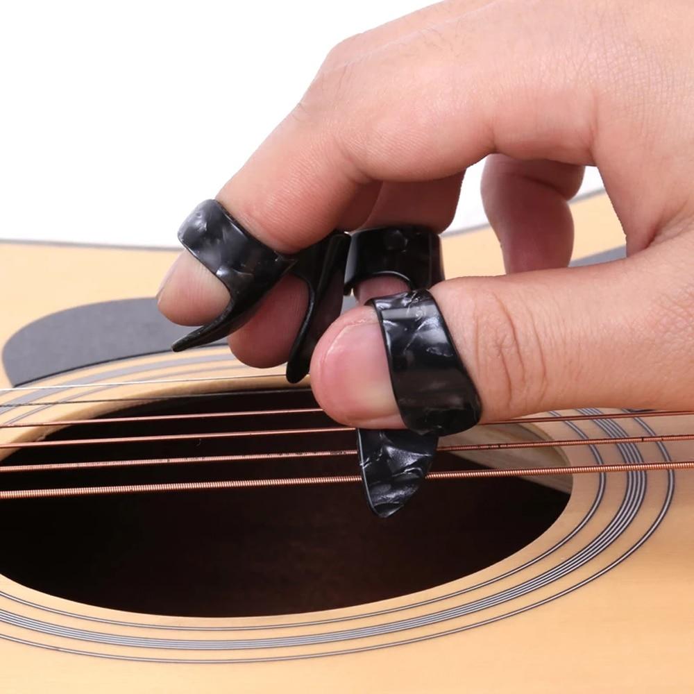 4 Pcs/set 1 Thumb + 3 Finger Guitar Picks Celluloid Fingerpicks Guitar Plectrum Sheath For Acoustic Electric