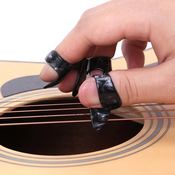 4 pcs / set 1 thumb + 3 finger guitar picks seluloid fingerpicks guitar sarung plectrum untuk gitar elektrik akustik