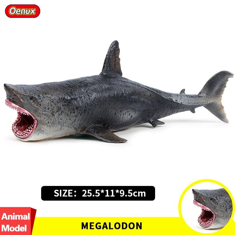Oenux 25.5x11x9.cm Sea Life Megalodon Tubarão Grande Lamnidae Oceano Vida Selvagem Animais Figuras de Ação Modelo Brinquedos Presente Para As Crianças