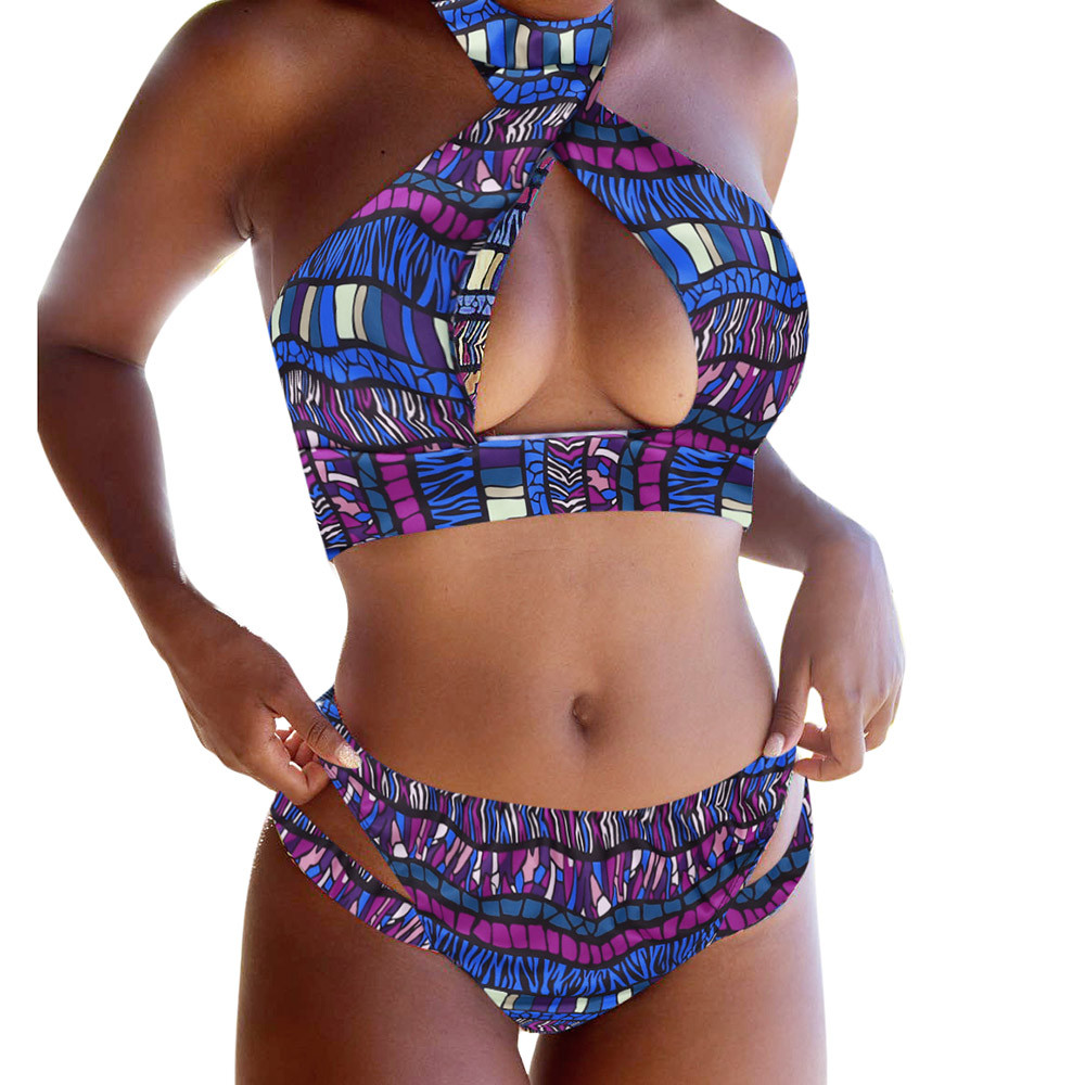 Sexy Women Color Print beach   Set   Push-up Padded   Bra   Swimsuit Bathing Swimwear Beach African Swim Suits Maillot De Bain