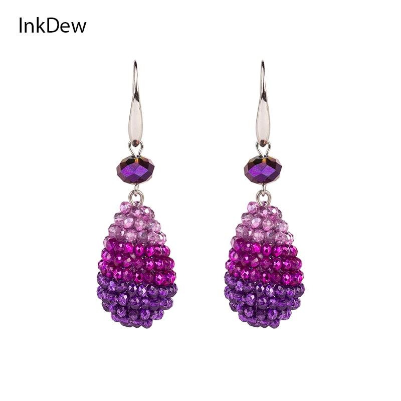 """""""INKDEW"""" mados ryškios spalvos Vandens lašų formos dideli auskarai ilgų auskarų karoliukai rankų darbo kristalų lašas auskarai moterims"""