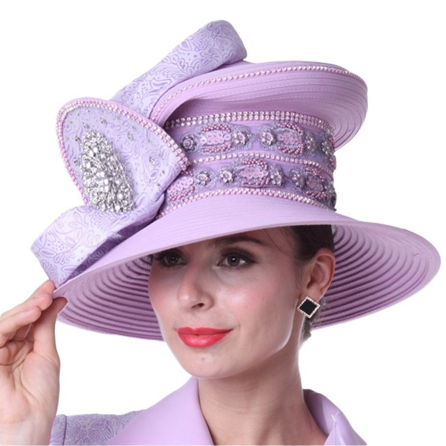 Kueeni Women Hats Ladies Outfits Wedding Big Hat Romantic Purple Color  Handcraft Embroidery Elegant Lady Party Dress Hat ff4b75b8578