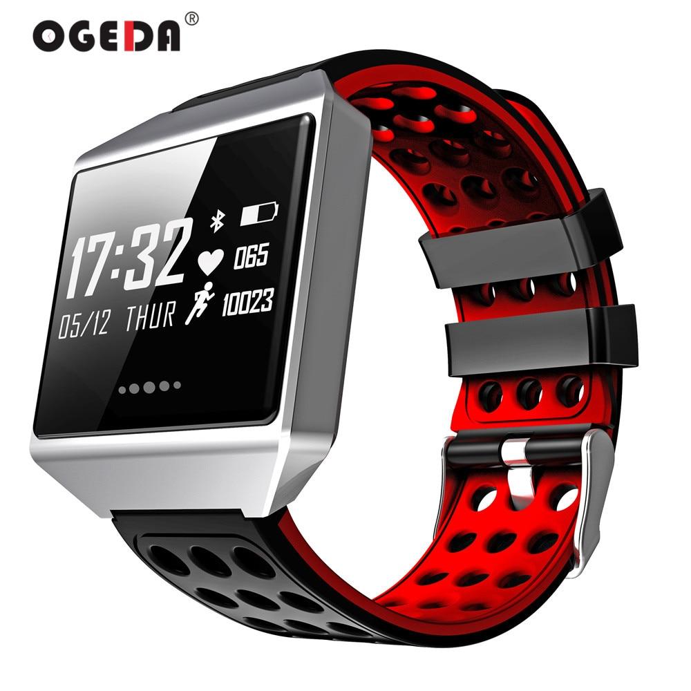 OGEDA Men Sport Smart Watch Blood Pressure Fitness Tracker Dynamic Heart Rate Monitor Sport Waterproof Watch Bracelet CK12 Clock