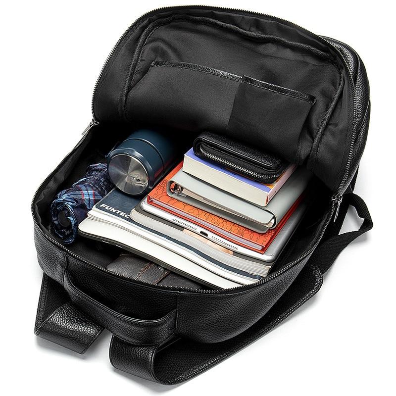PNDME genuine leather Men 39 s shoulder bag large capacity 14 inch laptop bag outdoor black waterproof soft leather travel backpack in Backpacks from Luggage amp Bags