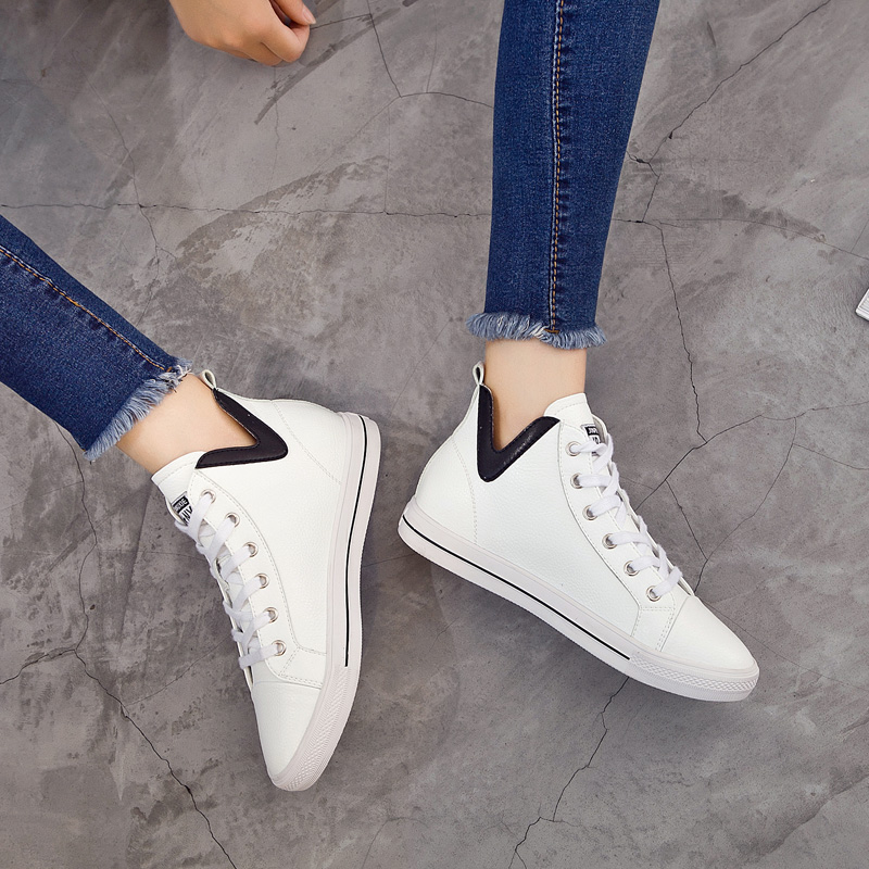 2018 Spring and Autumn Leather Little White Shoes New Style Korean Version Single Shoes Lace Up Student Loafers Women 39 s Shoes 5 in Women 39 s Flats from Shoes