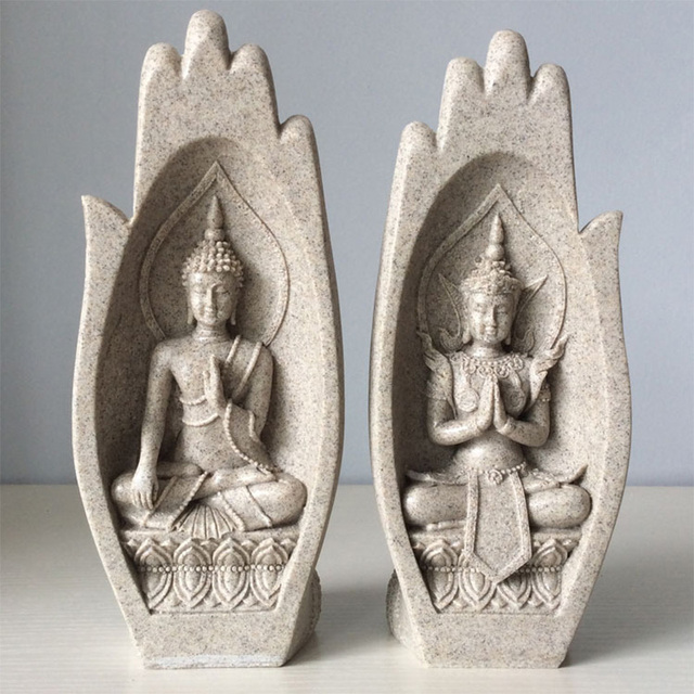 2Pcs Buddha Statue Hands Sculptures Monk Figurine Tathagata India Yoga Fengshui Home Decoration Accessories Dropshipping 2