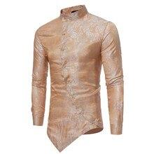 Новое поступление весенние мужские рубашки с длинным рукавом Irraguler рубашка мужская приталенная с цветочным принтом мышечная футболка Camicia Uomo