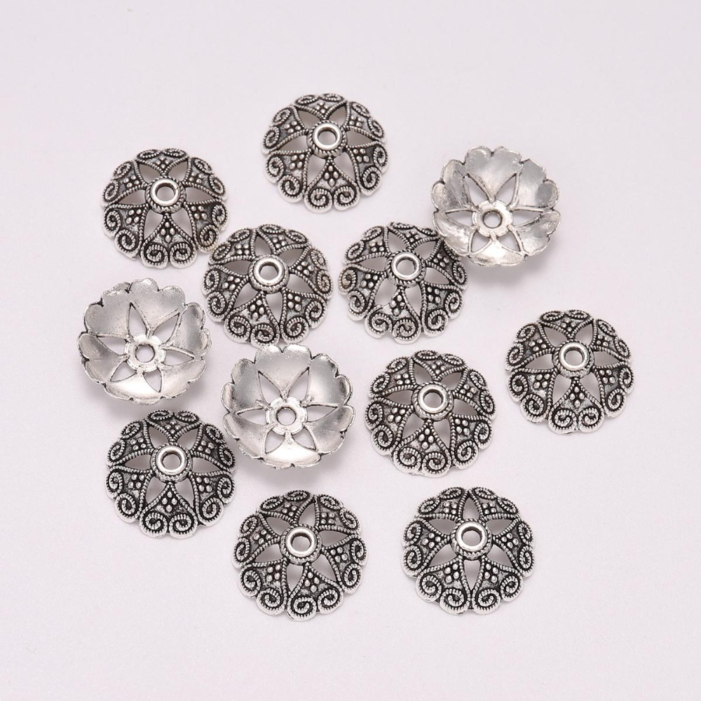 20pcs/Lot 14.5 Mm Silver 6 Petals Peach Heart Flower Loose Sparer Apart End Beads Caps For DIY Jewelry Making Findings Earrings