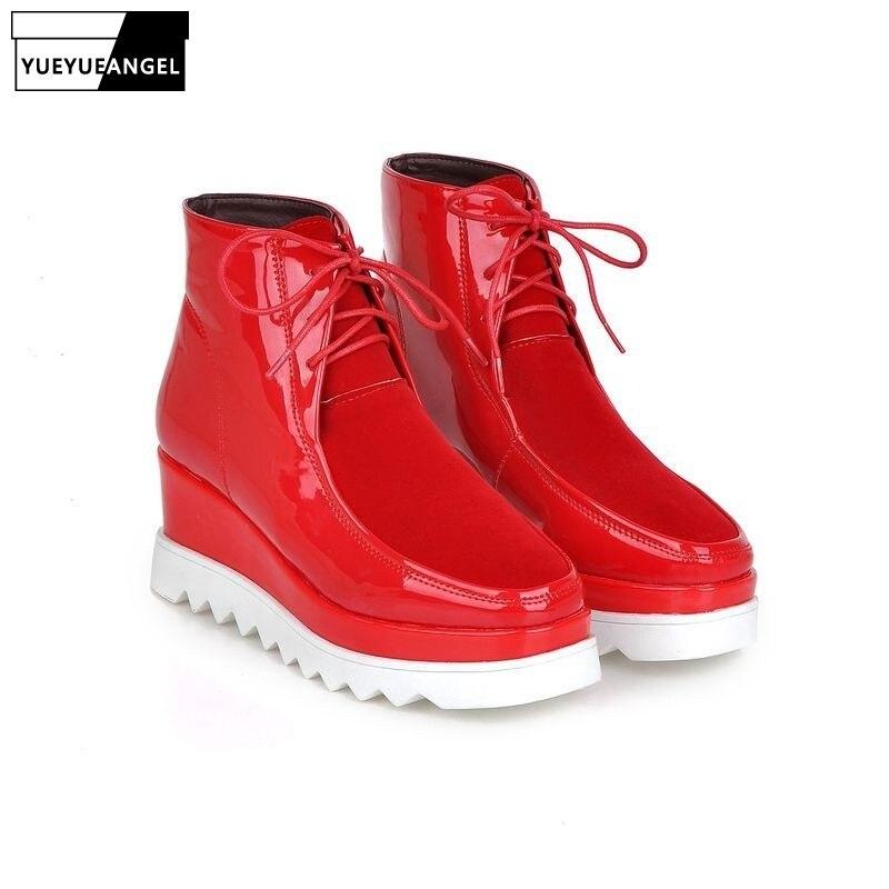 Cuero Casual Tobillo Zapatos Antideslizante Señora La Preppy Red Encaje Cuña Mujer Moda Plataforma Calzado Red black Botas wine De Femenina YwOBvxIq8