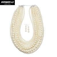 KOSMOS-LI Maxi Boho Della Collana multi strato di plastica branello della perla della collana del collare di dichiarazione decorativa grande collana dei monili delle donne 6070