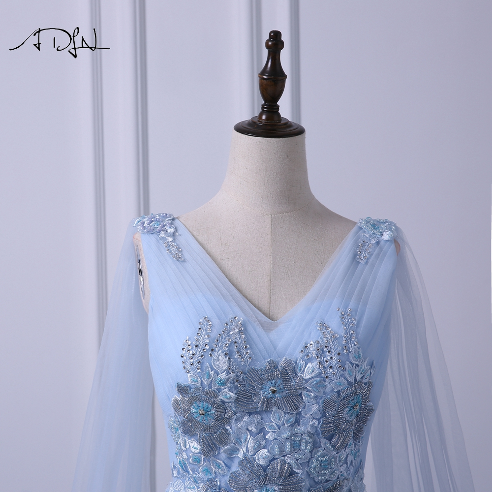 ADLN Elegant V neck Evening Dresses Long Fashionable Blue Prom Gown Dress with Watteau Train A line Formal Wedding Party Dress - 2