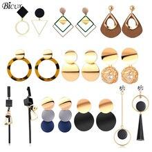 BICUX, винтажные акриловые серьги-капли для женщин,, модные ювелирные изделия, корейские Металлические геометрические золотые Висячие висячие серьги