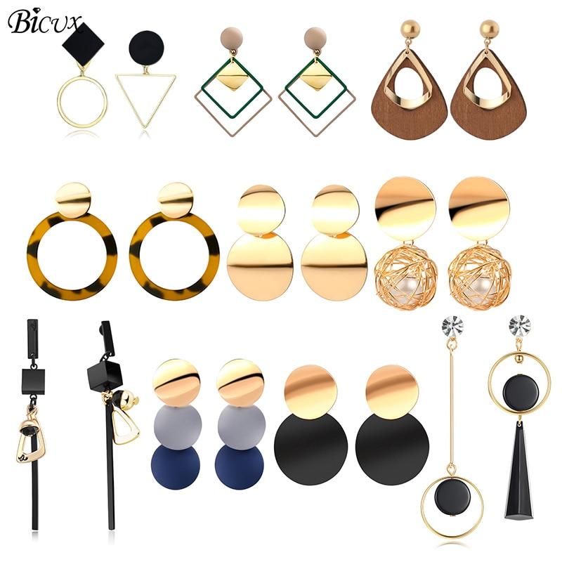 BICUX под старину, акриловый эффектный Висячие серьги для женщин 2019 модные ювелирные изделия корейские Металлические геометрические золотые ...