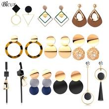 BICUX Vintage acrílico declaración gota pendientes para mujeres 2019 joyería de moda coreano Metal geométrico oro colgante pendiente colgante