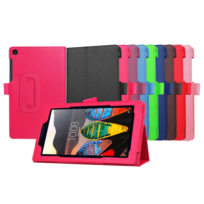 Good Quality Litchi Stand PU Leather Case For Lenovo Tab3 7 Essential Flip Cover 710F I