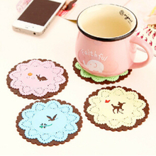 2017 Top Fashion Coasters Cute Hollow Out Lace Forest Animals Heat Insulation Silicone Cup Mat Coaster Kitchen Table Decor K7589