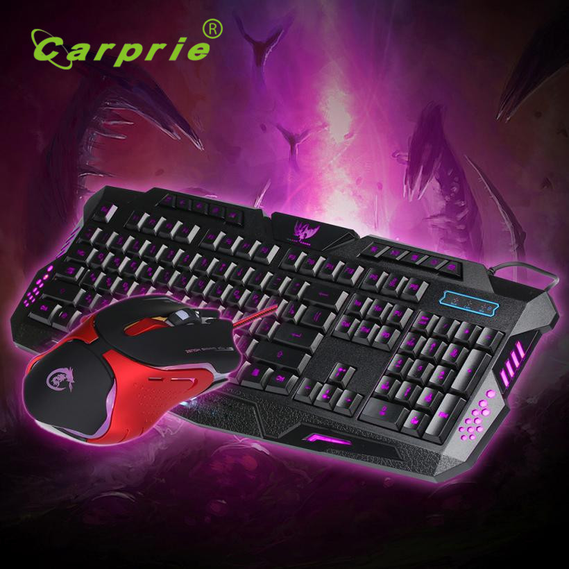 Carprie New USB wired Discoloration Russian version of the game keyboard + Gaming Mouse 17May23 Dropshipping