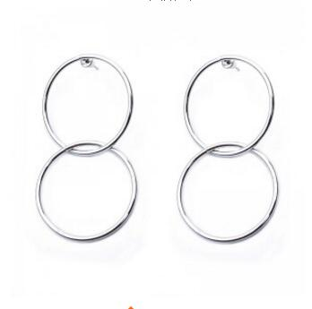 ED 0208  Exaggerated fashion simple silver geometric big circle earrings ladies fashion large hollow earrings jewelry jewelry