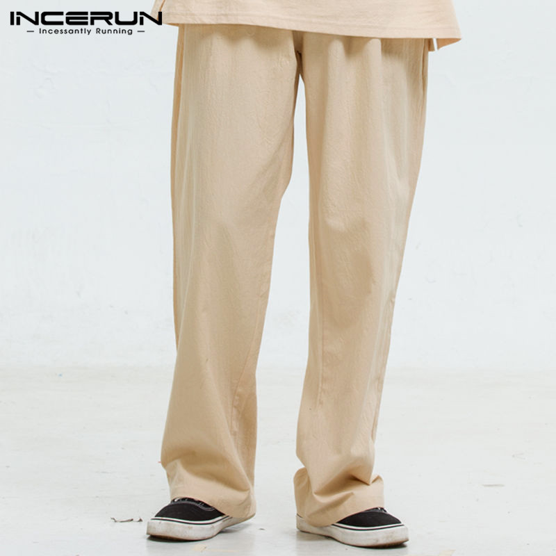 INCERUN Spring Summer Men Straight Pants Chinese Style Retro Elastic Waist Tie Cotton Casual Solid Color 2020 Loose Trousers 5XL